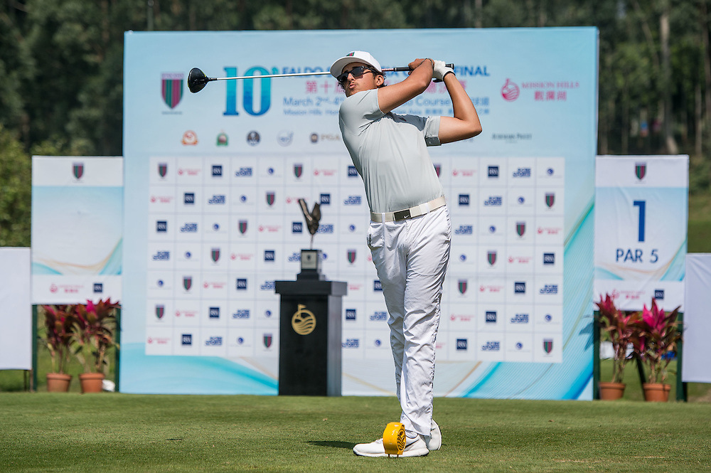 Samual Nashaar of Australia in action during day one of the 10th Faldo Series Asia Grand Final at Faldo course in Shenzhen, China. Photo by Xaume Olleros.