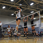 Golden West College players #3 Kate Stanjevich and #14 Ashleigh Atsaros go up for a block against Irvine Valley College outside hitter #6 Juju Cannon Golden West won 3-0 ( 27-25, 26-24, 25-19) 11/4/16
