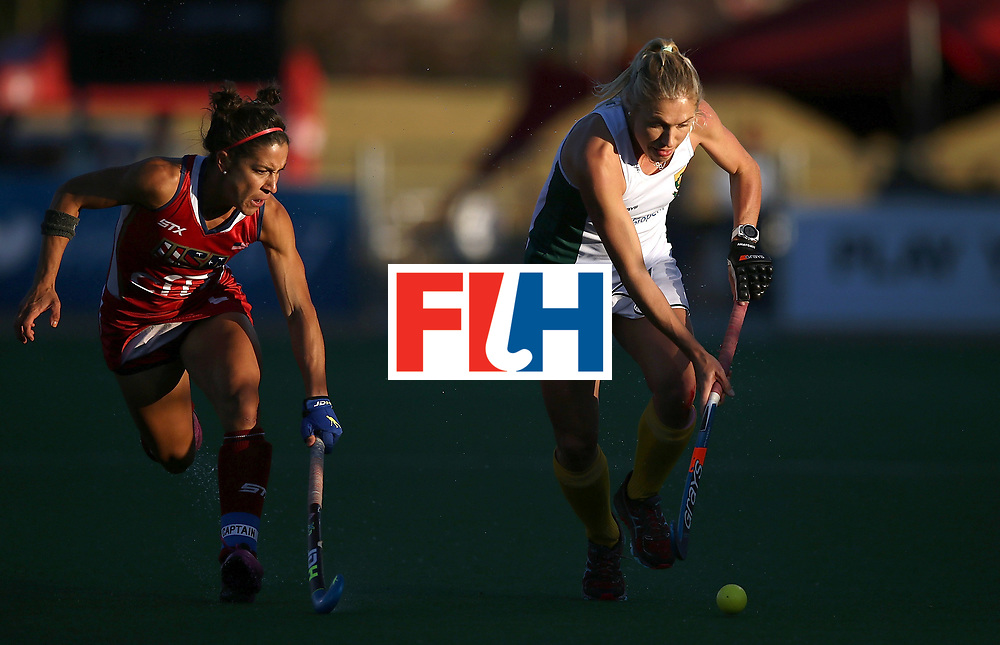 JOHANNESBURG, SOUTH AFRICA - JULY 16:  Shelley Jones of South Africa battles with Melissa Gonzalez of United States of America during day 5 of the FIH Hockey World League Women's Semi Finals Pool B match between South Africa and United States of America at Wits University on July 16, 2017 in Johannesburg, South Africa.  (Photo by Jan Kruger/Getty Images for FIH)