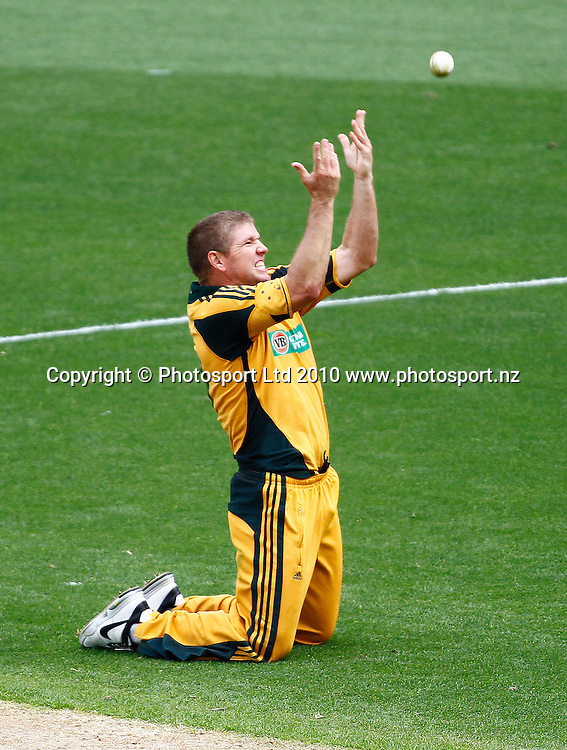 Australian bowler James Hopes celebrates a wicket. 4th one day international. New Zealand Black Caps versus Australia one day Chappell Hadlee cricket series. Eden Park, Auckland, New Zealand. Thursday 11 March 2010. Photo: Simon Watts/PHOTOSPORT