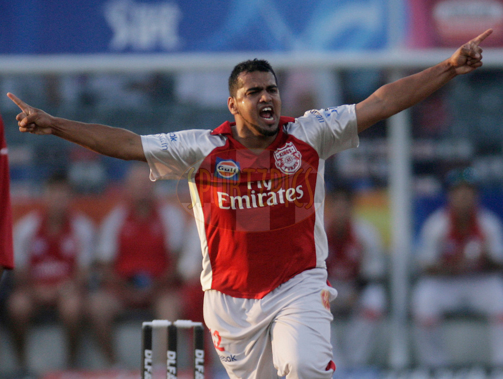 DURBAN, SOUTH AFRICA - 24 April 2009. Yusuf Abdulla celebrates the wicket of Jesse Ryder during the IPL Season 2 match between the Royal Challengers Bangalore and the Kings X1 Punjab held at Sahara Stadium Kingsmead, Durban, South Africa..