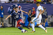 CHICAGO, IL - AUGUST 02: MLS All-Star and Atlanta United FC midfielder Miguel Almiron (26) plays the ball as Real Madrid midfielder Casemiro (14) defends in the second half during a soccer match between the MLS All-Stars and Real Madrid on August 02, 2017, at Soldier Field in Chicago, IL. The game ended in a 1-1 tie with Real Madrid winning on penalty kicks 4-2. (Photo By Daniel Bartel/Icon Sportswire)