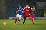 Chesterfield FC miffielder Sam Morsy uses his strength in midfield during the Sky Bet League 1 match between Chesterfield and Swindon Town at the Proact stadium, Chesterfield, England on 28 November 2015. Photo by Aaron Lupton.