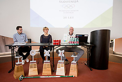 Paddy Kaser - representative World Curling Federation, Tadeja Brankovic and Gregor Rigler - representative Slovenian Curling Association at press conference of Slovenian Curling Association before Olympic Celebration Tour in Zalog, on February 9, 2018 in Olympic center BTC, Ljubljana, Slovenia. Photo by Urban Urbanc / Sportida