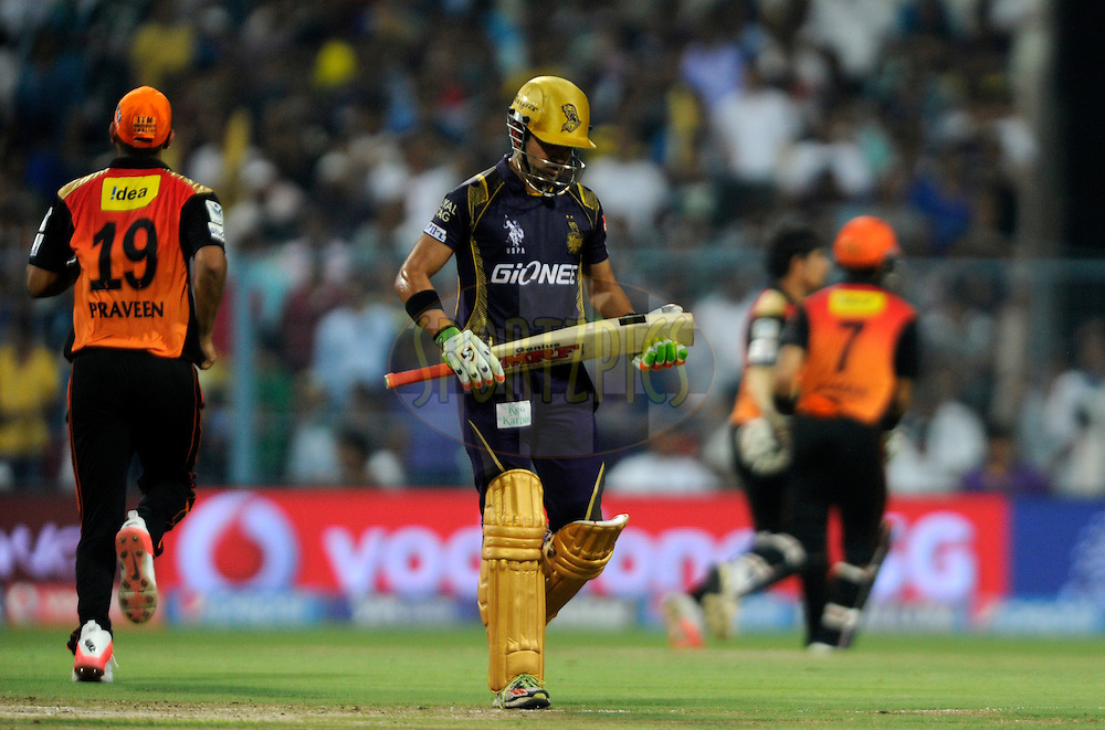 Gautam Gambhir of Kolkata Knight Riders walks back after getting out during match 38 of the Pepsi IPL 2015 (Indian Premier League) between The Kolkata Knight Riders and The Sunrisers Hyderabad held at Eden Gardens Stadium in Kolkata, India on the 4th May 2015.<br /> <br /> Photo by:  Pal Pillai / SPORTZPICS / IPL