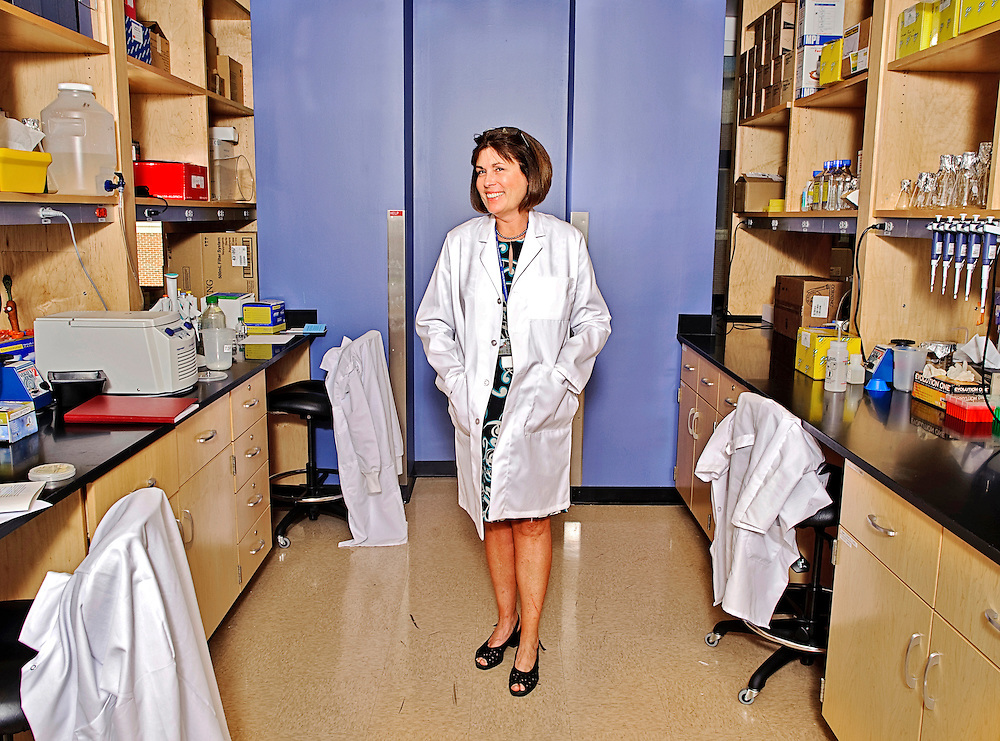 A giant in the genomic medicine world, Dr. Claire Fraser-Liggett, of Clarksville, director of the Institute for Genome Sciences at the University of Maryland School of Medicine was recently inducted in the Maryland Women's Hall of Fame. She primarily works with microorganisms that live in the human gastro intestinal tract, and studies how they effect such things as obesity. She is photographed in the lab at the Biomedical Park in Baltimore where most of the work she heads is done Tuesday, April 6, 2010.