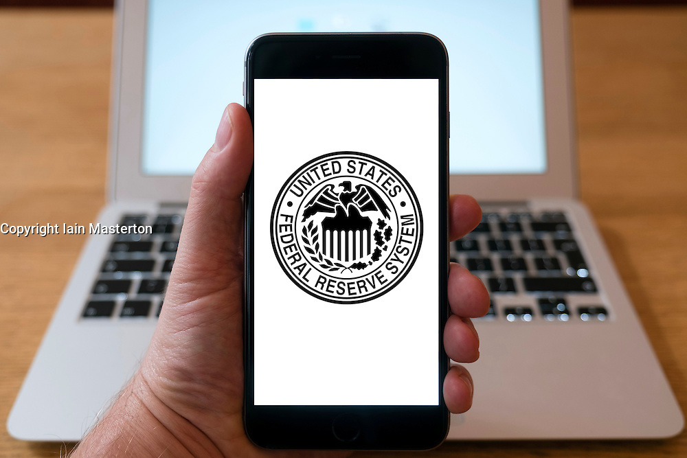 Website of United States Federal Reserve System on iPhone smart phone mobile phone