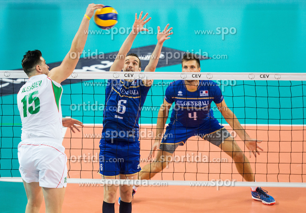 Todor Aleksiev of Bulgaria vs Benjamin Toniutti #6 of France during volleyball match between National teams of France and Bulgaria in 2nd Semifinal of 2015 CEV Volleyball European Championship - Men, on October 17, 2015 in Arena Armeec, Sofia, Bulgaria. Photo by Vid Ponikvar / Sportida