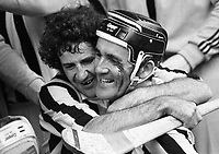 974-9<br /> The emotional scene at Croke Park as Pat Lawlor embraces Eddie Keher (with blood streaming from his eye) as they left the field after Kilkenny had won their 19th All-Ireland Hurling Final by defeating champions Limerick. September 1974.<br /> (Part of the Independent Newspapers Ireland/NLI collection.)