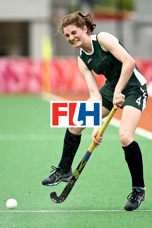 Ireland's Emily Beatty deflects a shot from her opponent in the Korea versus Ireland girls' preliminary hockey match of the Singapore 2010 Youth Olympic Games (YOG) at the Sengkang Hockey Stadium in Singapore, Aug 20, 2010.  Korea won the match 3-2. Photo: SPH-SYOGOC/Jeremy Chan