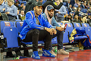 Pierre-Emerick Aubameyang of Arsenal (left) and Alexandre Lacazette of Arsenal during the NBA London Game match between Washington Wizards and New York Knicks at the O2 Arena, London, United Kingdom on 17 January 2019.