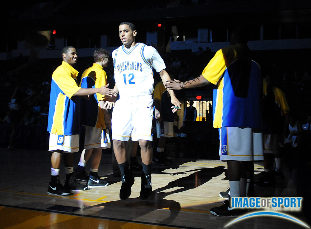 Dec 1, 2008; Bakersfield, CA, USA; Cal State Bakersfield Roadrunners guard Trent Blakley (12) is introduced before the game against the University of San Diego Toreros at the Rabobank Arena. USD defeated CSUB 77-65.