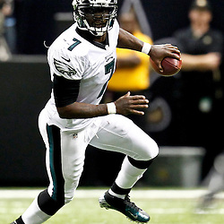 November 5, 2012; New Orleans, LA, USA; Philadelphia Eagles quarterback Michael Vick (7) against the New Orleans Saints during the second half of a game at the Mercedes-Benz Superdome. The Saints defeated the Easgles 28-13. Mandatory Credit: Derick E. Hingle-US PRESSWIRE