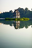 Turtle Tower in the center of Hoan Kiem lake by early morning, Hanoi, Vietnam, Southeast Asia