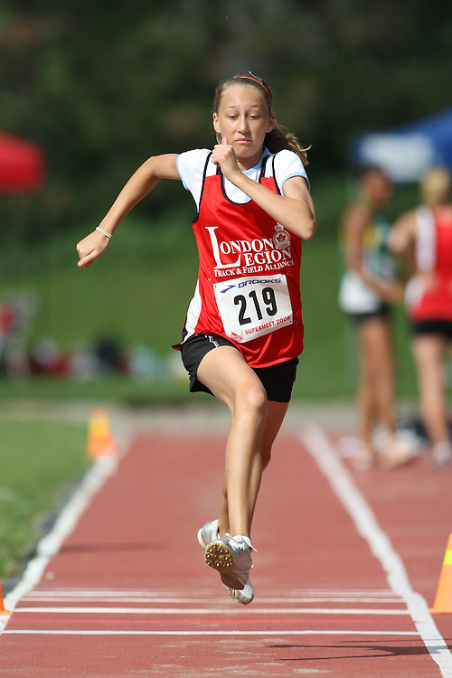 (Toronto, Ontario---2 August 2008)  Christine MacNeill competing in the triple jump at the 2008 OTFA Supermeet II, the Bantam, Midget, Youth Track and Field Championships. This image is copyright Sean W. Burges, and the photographer can be contacted at www.msievents.com.
