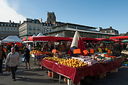 """Rennes, FRANCE. General View GV. Rennes weekly regional market. Brittany,<br /> <br /> """"Fruit, Bananas, Oranges Pineapple, Melon on display"""", sold from stalls in the open and covered market  <br /> <br /> Saturday  26/04/2014 <br /> <br /> © Peter SPURRIER, <br /> <br /> NIKON CORPORATION  NIKON D700  f7.1  1/800sec  24mm  6.8MB"""