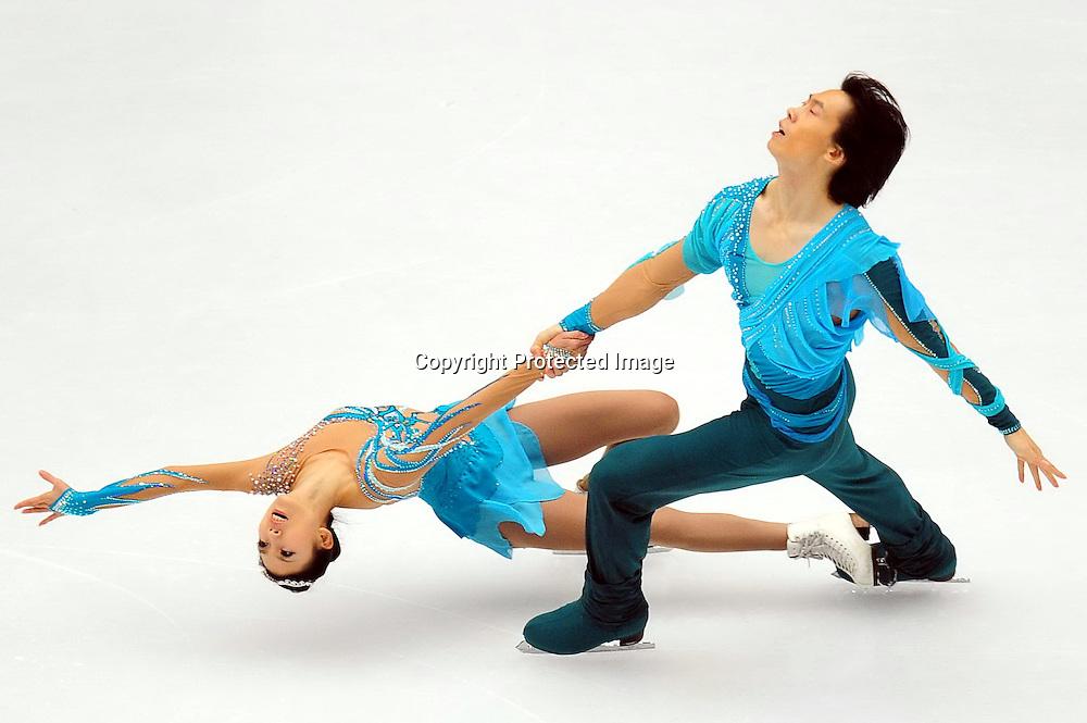 Dec 10, 2010; Beijing, CHINA; Pang Qing and Tong Jian of China skate in the Pairs Short Program during ISU Grand Prix and Junior Grand Prix Final at Beijing Capital Gymnasium.