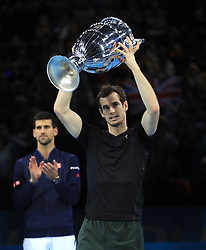 Andy Murray celebrates finishing the year as world number during day eight of the Barclays ATP World Tour Finals at The O2, London.