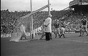 All Ireland Hurling Finals.1986..07.09.1986..09.07.1986..7th September 1986..September,every year,is the highlight of the GAA calendar with The All Ireland Finals being held in both codes. The senior and minor finals in each code are both played for on the same day. Each finalist has battled through provinical and knock out stages to reach the final.It is widely regarded as the pinnacle of a players career to reach and win an All Ireland Championship..In this years hurling finals,Cork played Offaly in the minor championship and a much fancied Galway team took on Cork in the senior final. Both matches were well fought and close encounters...In the senior hurling final Cork emerged victorious with a score of 4.13 (25) to Galways' 2.15 (21)..Cork goalkeeper,Ger Cunningham, can do nothing to prevent a Galway goal,the umpire(left) moves towards the green flag to signal the goal.