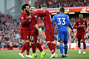 Liverpool midfielder Xherdan Shaqiri (23) scores the third Liverpool goal 3-0 and celebrates during the Premier League match between Liverpool and Cardiff City at Anfield, Liverpool, England on 27 October 2018.
