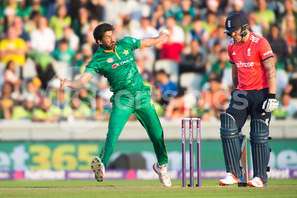 Sohail Tanveer of Pakistan bowls to Jason Roy of England during the NatWest International T20 match between England and Pakistan at Emirates Old Trafford, Manchester, England on 7 September 2016. Photo by Brandon Griffiths.