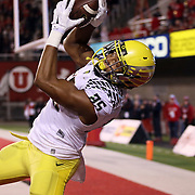 Ducks' TE Pharoah Brown catches a 2nd Quarter Marcus Mariota pass for Oregon Ducks vs the University of Utah Utes at Rice-Eccles Stadium, Salt Lake City, Utah. Photo by Barry Markowitz, 11/8/14, 8pm