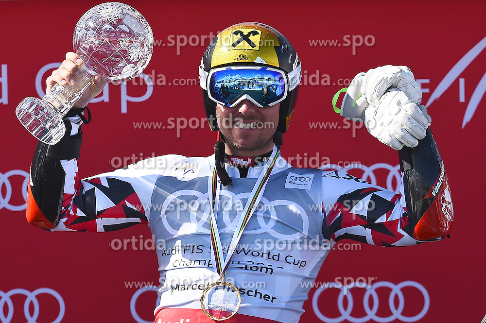 19.03.2016, Engiadina, St. Moritz, SUI, FIS Weltcup Ski Alpin, St. Moritz, Riesentorlauf, Herren, im Bild Marcel Hirscher (AUT) an der Siegerehrung fuer den Disziplinensieg Riesenslalom. // during men's Giant Slalom of St. Moritz Ski Alpine World Cup finals at the Engiadina in St. Moritz, Switzerland on 2016/03/19. EXPA Pictures &copy; 2016, PhotoCredit: EXPA/ Freshfocus/ Manuel Lopez<br /> <br /> *****ATTENTION - for AUT, SLO, CRO, SRB, BIH, MAZ only*****