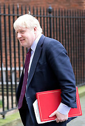 "© Licensed to London News Pictures. 29/01/2018. London, UK. Foreign and Commonwealth Secretary Boris Johnson holds document titled ""OFFICIAL SENSITIVE"" as he leaves Downing Street after attending a Brexit meeting this morning. Photo credit : Tom Nicholson/LNP"