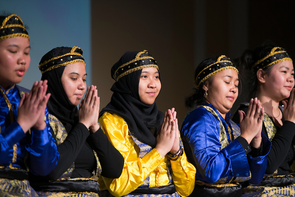 Members of PERMIAS (Indonesian Student Association) practiced for months before the International Women's Festival in order to master the intricate and precise style of their dance. The unison of their movements was accompanied by live performed song.<br /> Pictured:<br /> Irma Fnu, Elizarni, Nissa Aprilia, Claudia Rakotoarison, Naykieng Khun,
