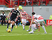 Dundee&rsquo;s Greg Stewart runs at Hamilton Academical's Lucas Tagliapietra - Hamilton Academical v Dundee, Ladbrokes Premiership at New Douglas Park<br /> <br /> <br />  - &copy; David Young - www.davidyoungphoto.co.uk - email: davidyoungphoto@gmail.com