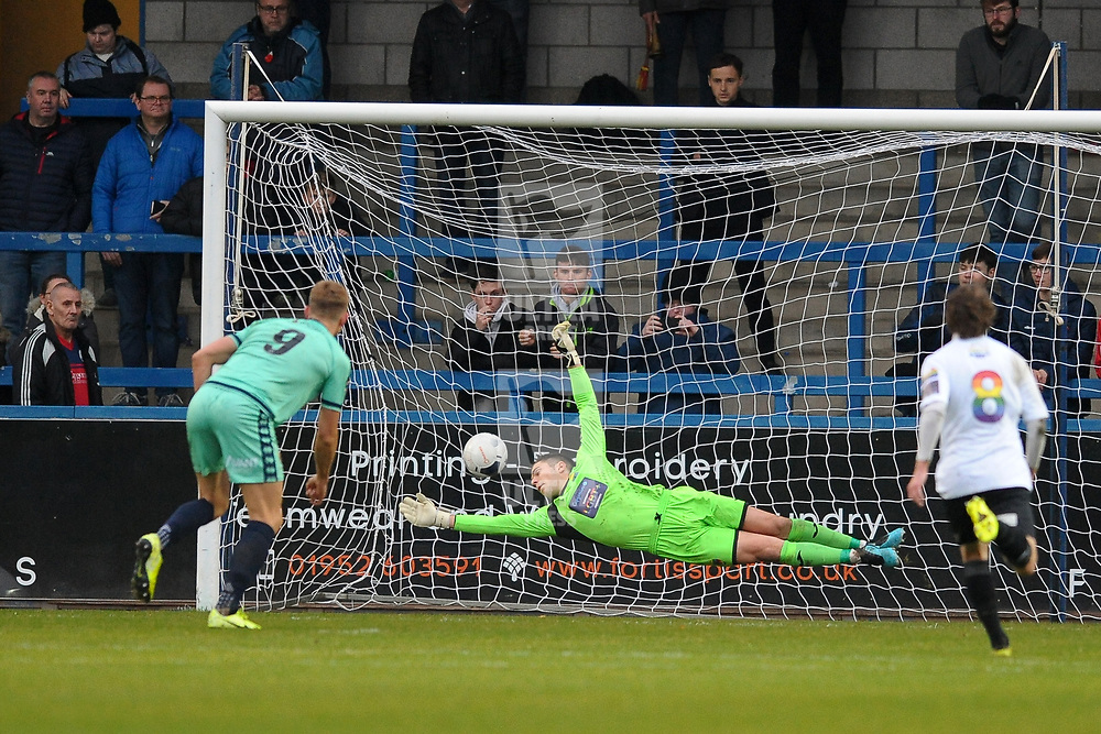 TELFORD COPYRIGHT MIKE SHERIDAN GOAL. Glen Taylor of Spennymoor scores to make it 1-0 during the Vanarama National League Conference North fixture between AFC Telford United and Spennymoor Town on Saturday, November 16, 2019.<br /> <br /> Picture credit: Mike Sheridan/Ultrapress<br /> <br /> MS201920-030