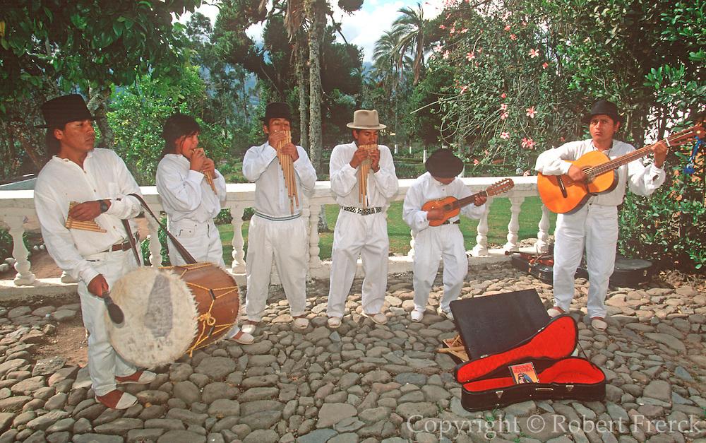 ECUADOR, COLONIAL musicians, queno, zampona, rondador