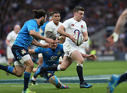 26 February 2017 : 6 Nations Rugby : England v Italy :<br /> George Ford runs through the Italian defence.<br /> Photo: Mark Leech