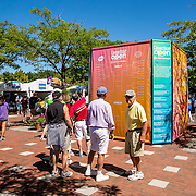 August 22, 2016, New Haven, Connecticut: <br /> Fans look at the draw scoreboard during Day 4 of the 2016 Connecticut Open at the Yale University Tennis Center on Monday August  22, 2016 in New Haven, Connecticut. <br /> (Photo by Billie Weiss/Connecticut Open)
