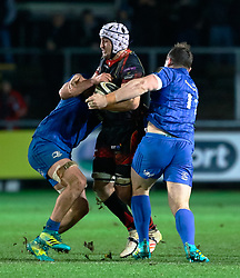 Ollie Griffiths of Dragons under pressure from Dave Kearney of Leinster<br /> <br /> Photographer Simon King/Replay Images<br /> <br /> Guinness PRO14 Round 10 - Dragons v Leinster - Saturday 1st December 2018 - Rodney Parade - Newport<br /> <br /> World Copyright © Replay Images . All rights reserved. info@replayimages.co.uk - http://replayimages.co.uk