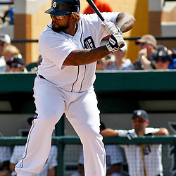 March 14, 2012; Lakeland, FL, USA; Detroit Tigers first baseman Prince Fielder (28) against the New York Mets during a spring training game at Joker Marchant Stadium. Mandatory Credit: Derick E. Hingle-US PRESSWIRE