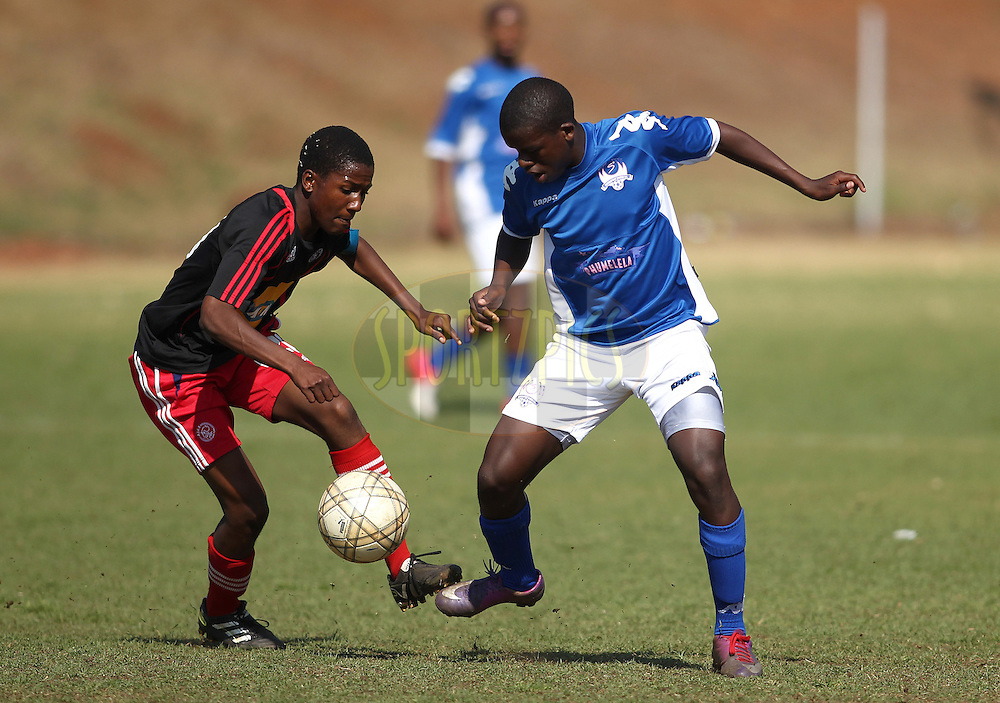 Senoane Gunners and Supersport United challenge during the 3rd and 4th playoff during the final day of the Engen Knock Out Challenge held at Marks Park, Emmarentia  in Johannesburg on the 9th September 2012..Photo by Shaun Roy/ SPORTZPICS..