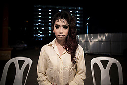 At a beuty contest, Bangkok. Thailand's Transgenders, &quot;Katheoys&quot; live in a kind of parallel universe within Thai society.<br /> <br /> Katheoys are biological men who have been born with distinctifly female hearts and minds. Some choose to have their anatomy 'corrected' whilst others are content to dress in womens clothing or simply give free reign to their effeminate mannerism.