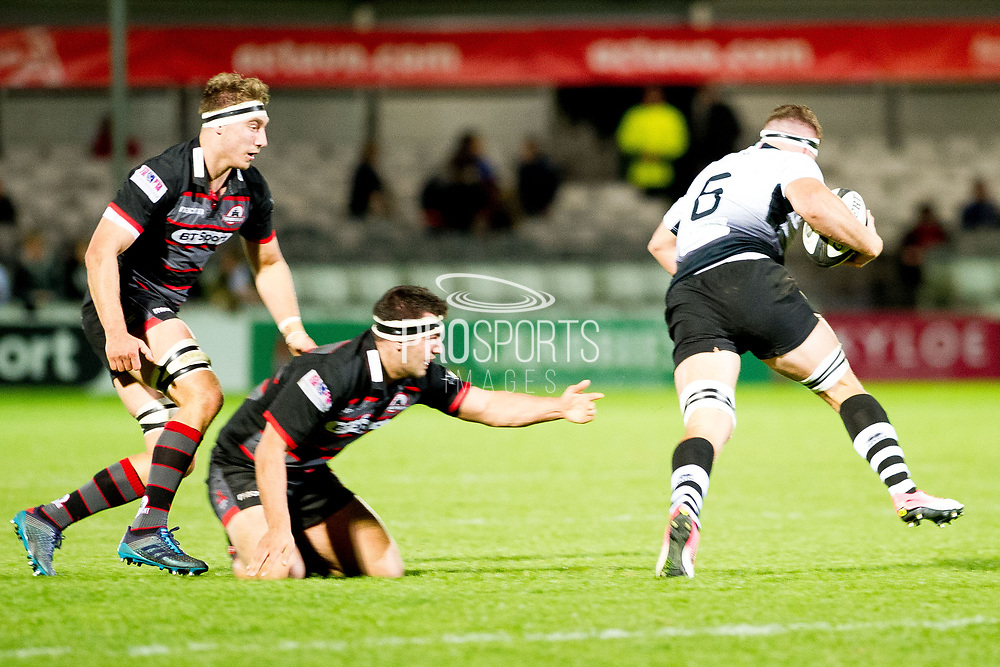 George Biagi breaks past Edinburgh defence during the Guinness Pro 14 2017_18 match between Edinburgh Rugby and Zebre at Myreside Stadium, Edinburgh, Scotland on 6 October 2017. Photo by Kevin Murray.