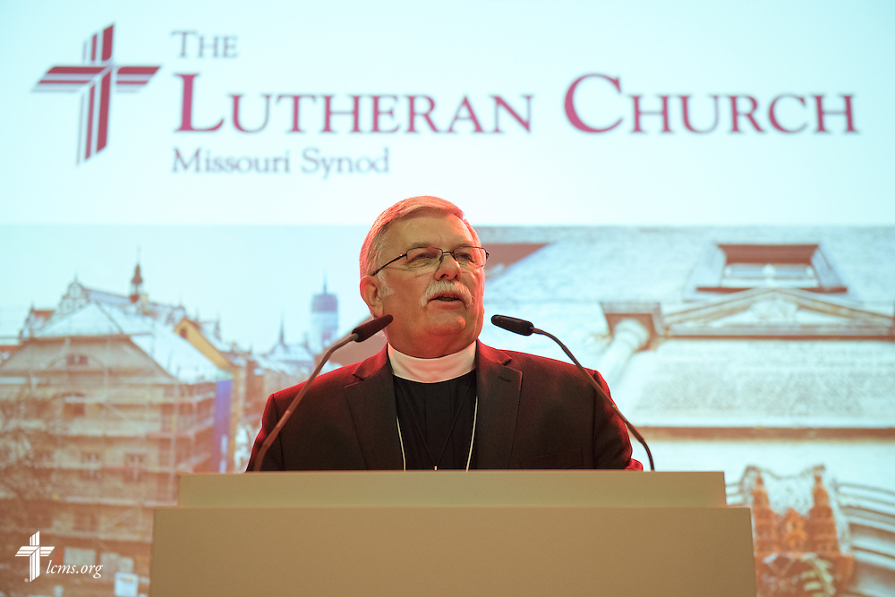 The Rev. Dr. Michael Kumm, chairman of the LCMS Board of Directors, welcomes guests to the Stadthaus during the reception following the dedication of The International Lutheran Center at the Old Latin School on Sunday, May 3, 2015, in Wittenberg, Germany. LCMS Communications/Erik M. Lunsford