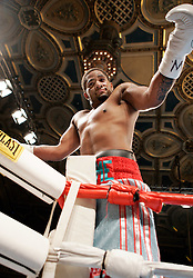 Undefeated prospect Curtis Stevens celebrates his win over Kia Daniels after just :44 seconds of the first round at the Manhattan Center in NYC.  Stevens knocked out Daniels cold with a single left hook to move his record to 10-0, 9KO's.