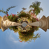 Little Planet View of Granada Terrace Park in St. Petersburg, Florida. Composite of 27 images taken with a Fuji X-T1 camera and 8 mm f/2.8 fisheye lens. Images processed with AutoPano Giga Pro.