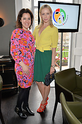 Left to right, EMMA FRANCE European Director of mothers2mothers and NADYA ABELA at the mothers2mothers Mother's Day Tea hosted by Nadya Abela at Morton's, Berkeley Square, London on 12th March 2015.  mothers2mothers is a charity working to eliminate mother to child transmission of HIV/AIDS across sub-Saharan Africa.