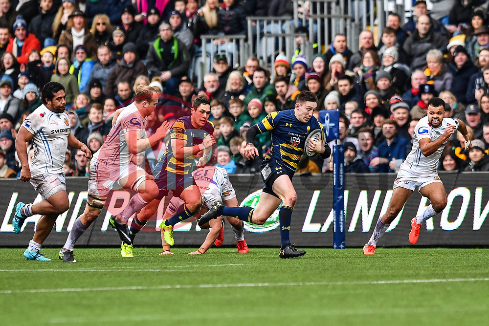 Josh Adams of Worcester Warriors in action - Mandatory by-line: Craig Thomas/JMP - 27/01/2018 - RUGBY - Sixways Stadium - Worcester, England - Worcester Warriors v Exeter Chiefs - Anglo Welsh Cup