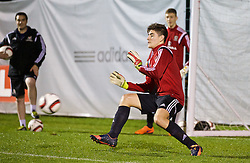 NEWPORT, WALES - Wednesday, November 4, 2015: Wales' goalkeeper Scott Reed during a training session ahead of the Under-16's Victory Shield International match at Dragon Park. (Pic by David Rawcliffe/Propaganda)