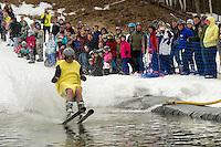 Gunstock's annual BYODC pond skimming event Sunday, April 7, 2013.  Karen Bobotas/for the Laconia Daily Sun