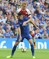 Football - 2017 Community Shield - Chelsea vs. Arsenal<br /> <br /> Chelsea New signing Alvaro Morata tussles with Rob Holding at Wembley.<br /> <br /> COLORSPORT/ANDREW COWIE