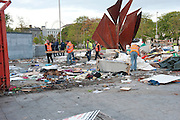 The clean up after the occupy Galway protest was removed from Eyre Square Galway. Photo:Andrew Downes