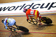 Picture by Ian Wadkins/Focus Images Ltd +44 7877 568959<br /> 02/11/2013<br /> Becky James of Team GB (bottom) overtakes Jingjing Shi of China during day two of the UCI Track Cycling World Cup  at the National Cycling Centre, Manchester.