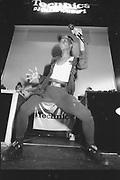Performer on stage at Technics DJ Championships, UK, 1980s.